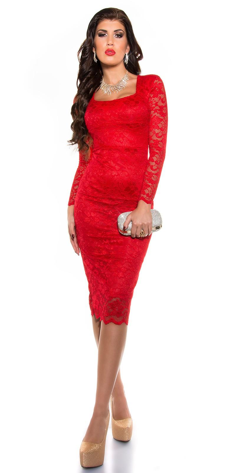 04b78a054c50 Obrázok pre Čipkované šaty Elegant   červené ...